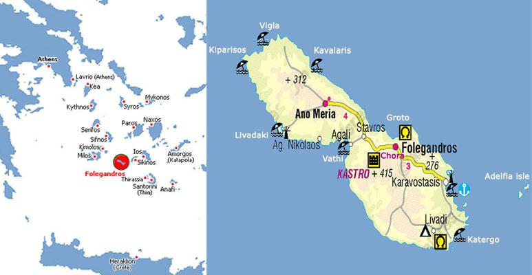 Islands Of Greece Map.Santorini Folegandros Greece Ferry Beaches In Folegandros Island