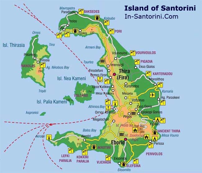 santorini mapa Santorini Mykonos | Ferry from Santorini to Mykonos and Athens santorini mapa